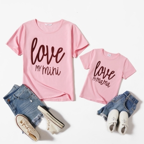 Mommy and Me Round collar Letter Hot Pink Short Sleeve Matching Tops