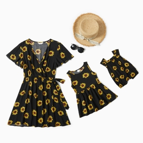 Sunflower Print Dresses for Mommy and Me