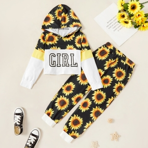 Kids Girl Sunflower Letter Allover Hooded Sweatshirt and Pants Set