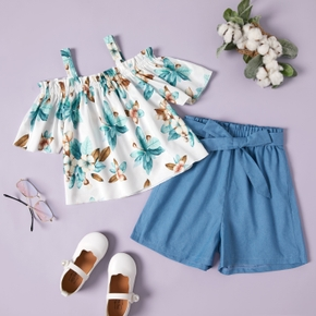Pretty Kid Girl 2-piece Short-sleeve Floral Print Shorts Suits