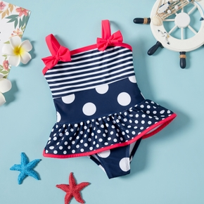 Baby Girl  Wave Point Ruffle  Flounce Swimsuit