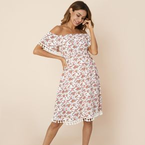 Pretty Off Shoulder Floral Print Short-sleeve Maternity Dress