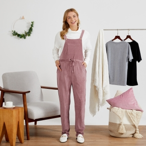 Maternity casual Plain Dark Pink Suspender pants