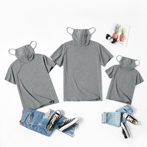 Solid Grey Cotton Short Sleeve T-shirts with Attached Face Mask