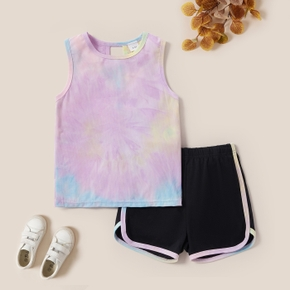 Tie Dye Tank Top and Color Contrast Shorts Set for Toddlers / Kids
