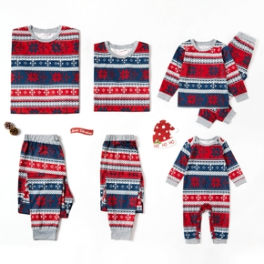 Family Matching  Snowflake Patterned Christmas Pajamas Sets (Flame Resistant)
