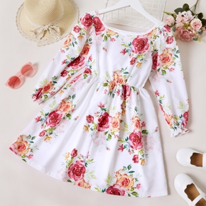 Kid Girl Square Neck Floral Print Long Ruffle-sleeve A line Dress