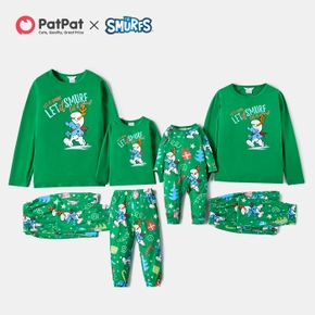 Smurfs Let It Smurf Antlers Family Matching Christmas Pajamas Set(Flame Resistant)