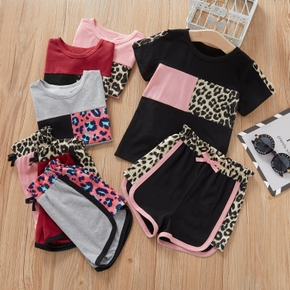 2-piece Baby / Toddler Leopard Splice Top and Shorts Set