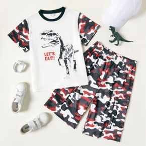 2-piece Kid Boy Letter Dinosaur Print Camouflage Tee and Shorts Set
