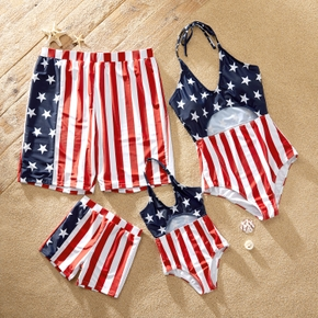 Red Stripe Stars Flag One-piece Family Matching Swimsuits