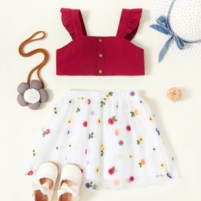 2-piece Toddler Girl 100% Cotton Button Design Red Tank Top and Flower Embroidery Mesh Skirt