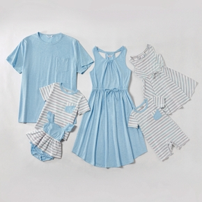 Mosaic Solid Blue and Stripe Family Matching Sets
