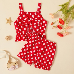 2-piece Toddler Girl Bowknot Polka dots Camisole and Shorts Set