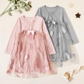 Kids Girl Bowknot Feather Embroidered Mesh Dress