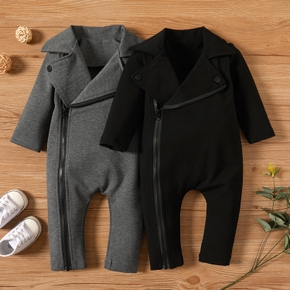 Solid Big Lapel Long-sleeve Baby Jumpsuit