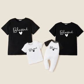 Bless Letter Print Family Matching T-shirts