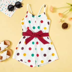 Colorful Dots Toddler White Sling Shorts Romper
