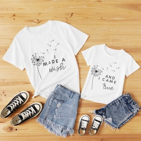 Dandelion Print White Short Sleeve T-shirts for Mom and Me