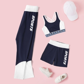 'Sports' Letter Print Color Contrast  Athleisure Tank / Shorts / Leggings for Toddlers / Kids
