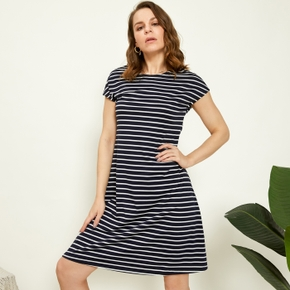 Round collar Stripes A Midi Dress