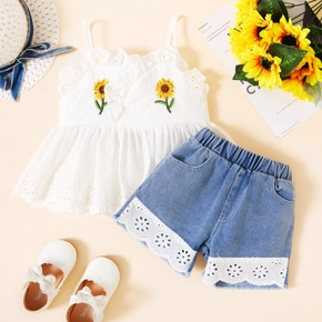 2-piece Toddler Girl Sunflower Print Top and Denim Lace Shorts Set