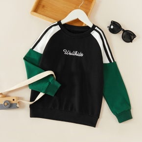 Letter Print Color Block Athleisure Pullover Sweatshirt for Toddlers/Kids