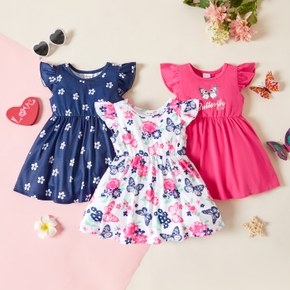 1pc Baby Girl Flutter-sleeve Floral Butterfly Print Dress