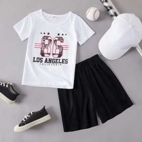 Stylish Kid Boy 2-piece Numbers Stars Letter Shorts Set