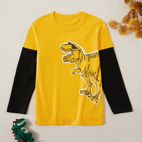 Pure Cotton Print Dinosaur Round Neck  Long-sleeve Top