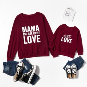 Letter Print Red Wine Sweatshirts for Mom and Me