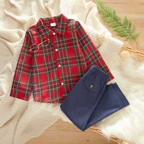2-piece Toddler Boy Long-sleeve Red Plaid Shirt and Denim Pants Jeans Set