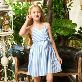 Pretty Kid Girl Bowknot Striped Slip Dress