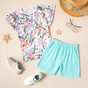 Pretty Kid Girl 2-piece Short-sleeve Floral Plaid Print Shorts Suits