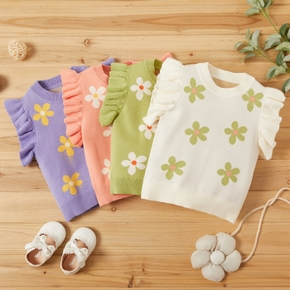 Baby Girl Casual Floral Sweaters