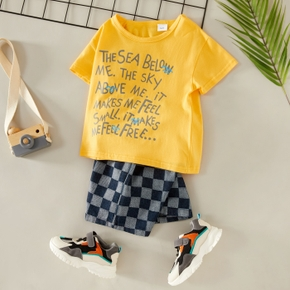 2-piece Toddler Boy Letter Tee and Plaid Shorts Set