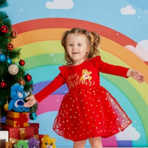 Care Bears Toddler Girl Merry Christmas Polka Dots Mesh Dress