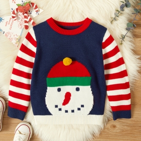 Toddler Girl Christmas Santa Embroidery Striped Knit Sweater