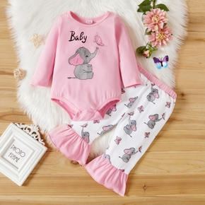 2-piece Baby Girl Elephant Butterfly Letter Print Long-sleeve Bodysuit Romper and Mermaid Tail Pants Set
