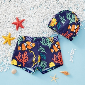 2-piece Toddler Boy Fish Print Swimsuit with Hat