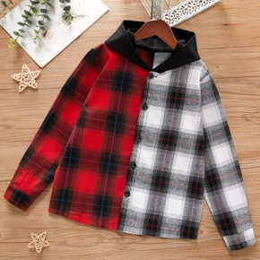 Kid Boy Color-block Plaid Hooded Shirt