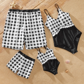Plaid Print Color Block Family Matching Swimsuits