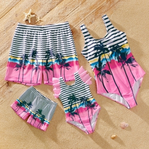 Stripe Beach Print One-piece Family Matching Swimsuits