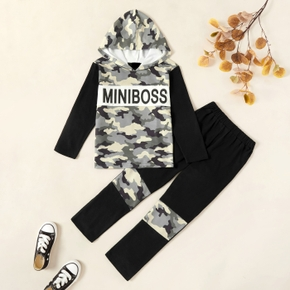 Kids Boy Camouflage Letter Hooded Sweatshirt and Pants Set