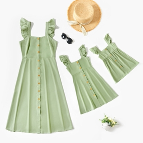 Flutter-sleeve Solid Color Matching Green Midi Dresses