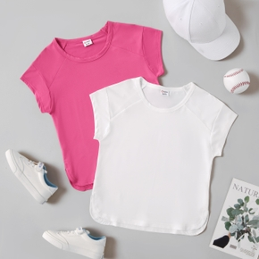 Solid Short-sleeve Athleisure Tee for Girls
