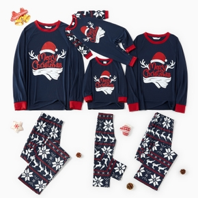 Family Matching Christmas Hat and Letter Print Pajamas Sets (Flame Resistant)