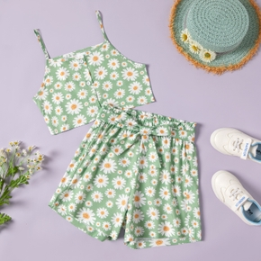 Pretty Kid Girl 2-Piece Suspender Floral Daisy Shorts Suits