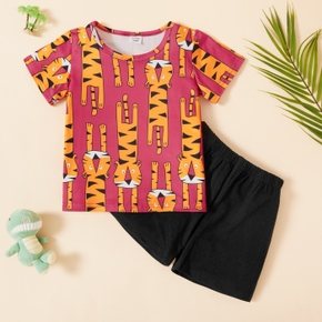 Trendy Toddler Boy Tiger Print Top And Shorts