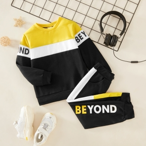 2-piece Toddler Boy Letter Color block Long-sleeve Top and Pants Set